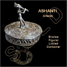 Ashanti Bronze Figural Lidded Container