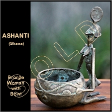Ashanti Bronze Female Figure with Offering Bowl
