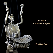 Burkina Faso Bronze Balafon Player