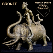 Bronze Woman Riding Elephant