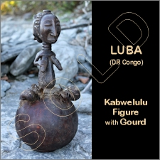 Luba Kabwelulu Female Figure with Gourd