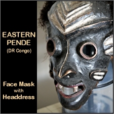 Eastern Pende Face Mask w/Feather Headdress